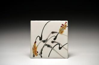 S Knusvig Tile with Brush Design $21